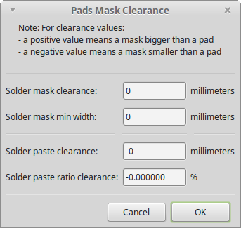 Pads and Mask Clearance dialog